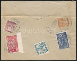 SHS 1920 Vegyes bérmentesítésű levél Óbecséről Romániába, ottani cenzúrával. Bodor vizsgálójellel