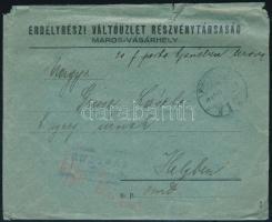 Erdély 1919 Marosvásárhely helyi ajánlott levél készpénz bérmentesítéssel, cenzúrázva, Bodor vizsgálójellel