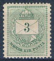 1874 3kr 13 : 11 1/2 fogazással (30.000) (ceruzás ráírás, törés / writing on the backside with pencil, folded)