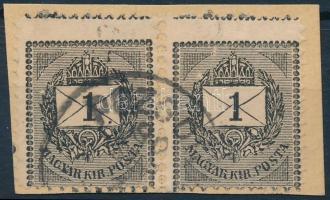 1888 Képbe fogazott sztereo 1kr pár kivágáson POZSONY