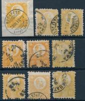 1871 Réznyomat 2kr 9 db bélyeg, sokféle szin (26.000)