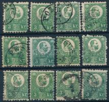 1871 Réznyomat 3kr 12 db bélyeg, színváltozatok (min 66.000)
