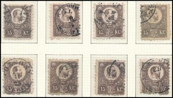 1871 Réznyomat 15kr 8 db bélyeg, színváltozatok