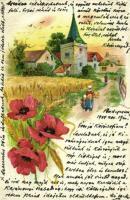 1904 Landscape with poppy flowers. litho (tear)