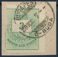 1874 3kr erősen elfogazott bélyeg kivágáson BUDAPEST Ó-BUDA érdekes darab