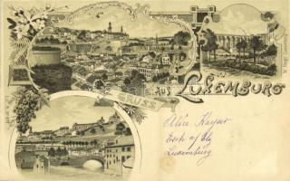 1899 Luxembourg Luxemburg; general views. M. Knopf Lit. B. No. 971. Art Nouveau, floral, litho (fl)