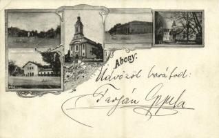 1898 Abony, Indóház, Vasútállomás, Artézi kút, Katolikus templom, Harkányi palota, kastély, Pintér Testvérek üzlete. Art Nouveau, floral (EB)