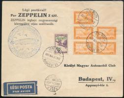 1931 Zeppelin magyarországi körrepülés levél Zeppelin 2P bélyeggel (hajtott)