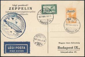 1931 Zeppelin magyarországi körrepülés levelezőlap Zeppelin 1P bélyeggel