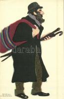 Budapesti alakok sorozat. Készültek az Orsz. M. kir. Iparművészeti Iskolában / Ungarische Werkstätte / Hungarian art postcard s: Győri Aranka (non PC)