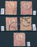 1871 Kőnyomat 5kr 5 különböző tipus (35.000)