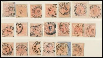 1850 20 db 3kr bélyeg, szín-, tipus-, papír változatok, bélyegzések
