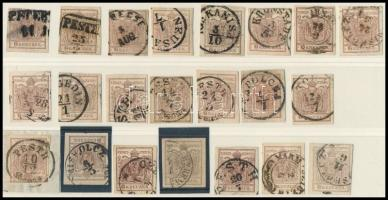 1850 22 db 6kr bélyeg, szín-, tipus-, papír változatok, bélyegzések