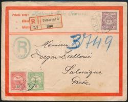 1913 Díjkiegészített ajánlott boríték Temesvárról Szalonikibe osztrák postahivatalnál érkeztetve