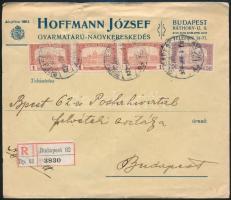 1920 4 db H.J. céglyukasztásos bélyeggel bérmentesített helyi ajánlott céglevél