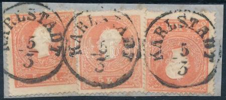 1858 3 x 5kr II. festékfoltos bélyegek KARLSTADT