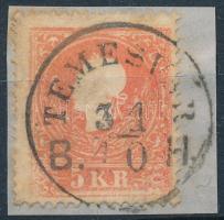 1858 5kr II. festékfolt, bal oldalon festékhiányos nyomat TEMESVÁR B.H.