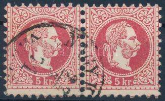 1867 5kr képbe fogazott pár NAGYK(ANIZSA) VÁROS