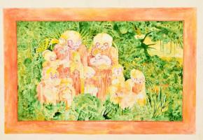 Mónus Viktor(1983-): Minta család 1. Vegyes technika, karton. Jelzett. 35x50 cm