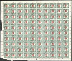 Kolozsvár 1919 Román megszállás, Pirosszámú portó 10f hajtott teljes ív, jobbra felfelé az egész íven végigmenő komoly elcsúszással, a 99. ívhelyen távol áló I-vel, Bodor vizsgálójellel