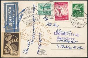 1933 Légi cserkész képeslap Repülő 10f és 20f bélyeggel Gödöllőről Budapestre, alkalmi levélzárókkal