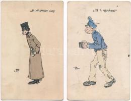 2 db RÉGI magyar katonai művészlap / 2 pre-1909 Hungarian military art postcards