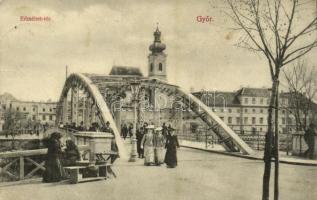 Győr, Erzsébet tér, híd, templom, utcai árus (EB)