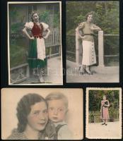 cca 1940 előtt készült, kézzel színezett fényképek, 4 db vintage fotó, 9x6 cm és 14x9 cm