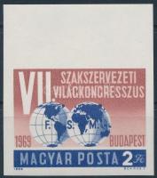 1969 Események (VII.) - Szakszervezeti Világkongresszus ívszéli vágott bélyeg