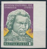 1970 Ludwig von Beethoven ívszéli vágott bélyeg (betapadásnyomok / gum disturbances)