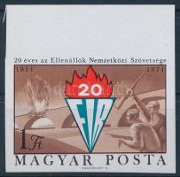 1971 20 éves az Ellenállók Nemzetközi Szövetsége ívszéli vágott bélyeg