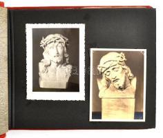 1943 Budapest, Dénes Miklós (?-?) fafaragó munkái a Műcsarnok tavaszi kiállításán, 22 db fotó, albumba rendezve + Dénes Miklós aláírása 1961-es levelezőlapon
