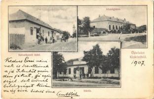 1907 Kisköre, Községháza, Iskola, Szövetkezet üzlete és saját kiadása (EK)