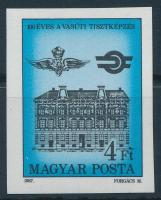 1987 100 éves a vasútitiszt képzés vágott bélyeg