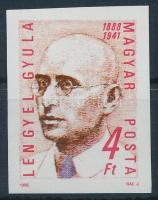 1988 Lengyel Gyula vágott bélyeg (gumihiba / gum disturbance)