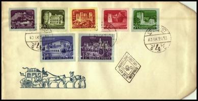 1960 Várak - színes papíron vágott sor FDC-n (7.000)