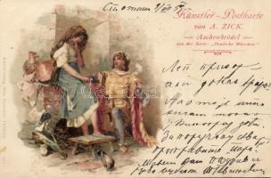 1899 Aschenbrödel, Deutsche Märchen Serie, A. Zick; Kunstverlag Max Sommer, Nr. 1513. litho