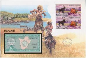 Burundi 1991. 10Fr felbélyegzett borítékban, bélyegzéssel T:1 Burundi 1991. 10 Francs in envelope with stamp and cancellation C:UNC