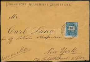 1891 Színesszámú 10kr levélen az USA-ba BUDAPEST FŐPOSTA - NEW YORK