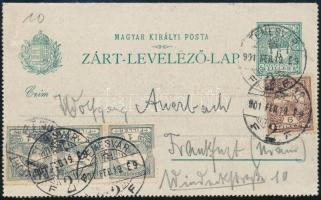 1901 6f díjjegyes zárt levelezőlap Turul 3 x 1f + 6f kiegészítéssel Temesvárról Frankfurtba