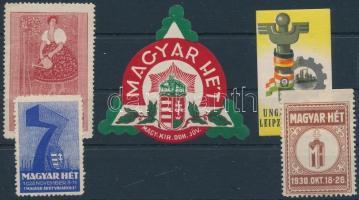 1910-1930 Magyar Hét 5 db klf. levélzáró Magyar árút vásárolj!