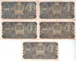 Ausztria 1945. 100Sch (5x) T:III  Austria 1945. 100 Schilling (5x) C:F  Krause 118