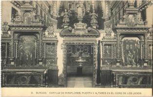 Burgos, Cartuja de Miraflores, Puerta y Altares en el Coro de los Legos / Miraflores Charterhouse, monastery interior, door, altars