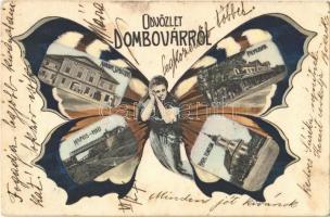 1905 Dombóvár, Korona szálloda és kávéház, Kapos híd, Pályaudvar, Vasútállomás, Római katolikus templom. Szecessziós pillangós hölgy montázs művészlap / Butterfly lady montage. Art Nouveau (EK)