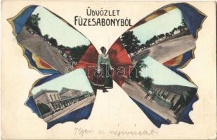1914 Füzesabony, Fő utca, Vasútállomás, népviselet. Szecessziós pillangós hölgy montázs művészlap / Art Nouveau butterfly lady montage art postcard (EK)