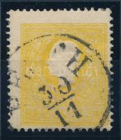 """2kr Type IIb, deep yellow, stronly shifted perf. """"PE(ST)H"""" Certificate: Strakosch, 2kr IIb tipus sötétsárga, erősen elfogazott bélyeg """"PE(ST)H"""" Certificate: Strakosch"""