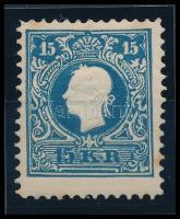15kr Newprint of 1866 issue, bright blue, type II. Certificate: Strakosch, 15kr 1866-os újnyomata, élénk kék színű II. tipusú bélyeg Certificate: Strakosch