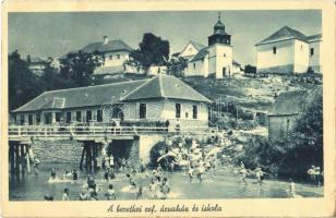 1940 Beretke, Bretka; Református árvaház és iskola, fürdőző gyerekek a folyóban / Calvinist school and orphanage, swimming children