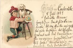 1899 Dog, child, litho