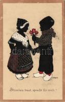 Holland folklór, sziluett litho s: Freund, Dutch folklore, silhouette litho s: Freund